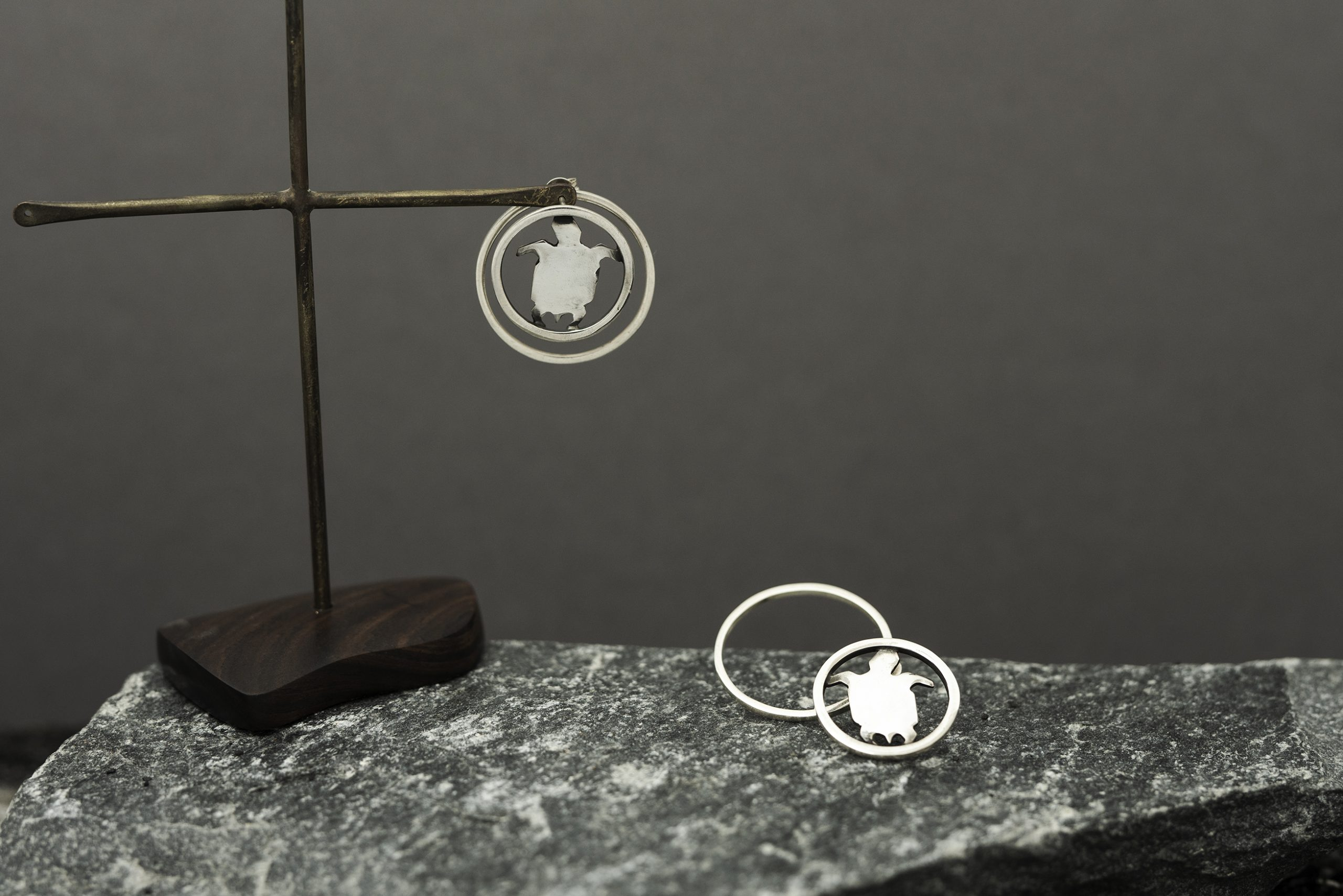 Turtle in the Circle Double Earrings jewelry image